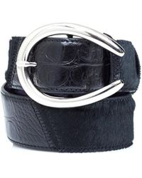 Elliot Rhodes - Mock Croc Horseshoe Buckle Black Belt - Lyst