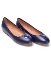 Armani Jeans - Shoes Navy Blue Leather Logo Ballet Court Shoes - Lyst