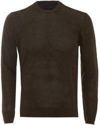 Armani Jeans - Jumper Crew Neck Cotton Blend Olive Green Sweater - Lyst
