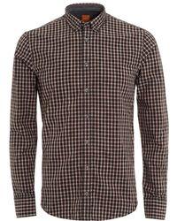 BOSS - Edipoe Black Pink Check Slim Fit Shirt - Lyst