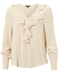 Toupy - Jaina Top, Ruffled V Neck Coquille Cream Blouse - Lyst