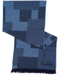 Armani - Diagonal Panel Wool Blue Scarf - Lyst
