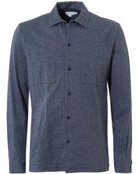 Sunspel - Overshirt, Cotton Jersey Ash Blue Melange Jacket - Lyst