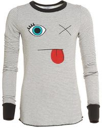 Lauren Moshi - Robin Top, Long Sleeved Striped Face Tee - Lyst