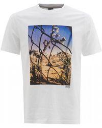 5db91e85 BOSS - Teear 1 T-shirt, White Photographic Desert Print Tee - Lyst