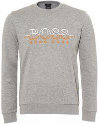 BOSS - Salbo Sweatshirt, Split Logo Slim Fit Grey Sweat - Lyst