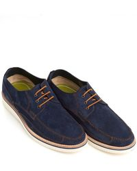 Oliver Sweeney - Stonehaven Moccasins, Hand Stitched Navy Blue Shoes - Lyst