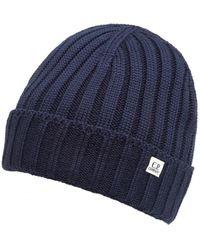 C P Company - Navy Blue Ribbed Logo Tab Beanie Hat - Lyst