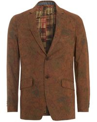 Etro - Floral Leaves Jacket, Gold Regular Fit Blazer - Lyst