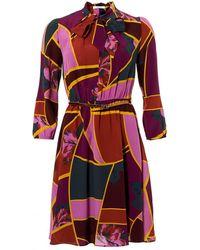 I Blues - Yamato Dress, Geometric Orchid Print Purple Multi Dress - Lyst