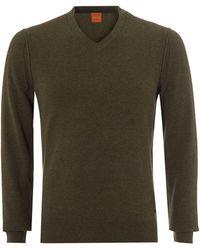 BOSS by Hugo Boss - Albono Jumper, V-neck Olive Night Sweater - Lyst