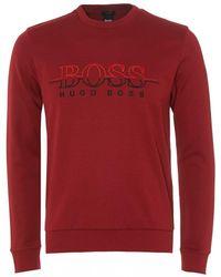 367e737cd BOSS Green Cotton Blend Sweatshirt 'Salbo' in Orange for Men - Lyst