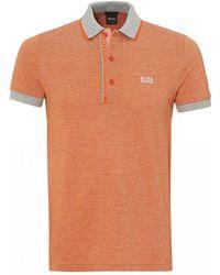 BOSS - Paule 4 Polo Shirt, Slim Fit Orange Polo - Lyst