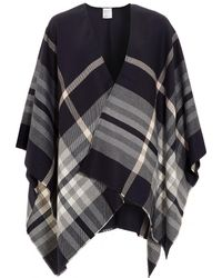 Fraas - Ruana Classic Plaid Navy Pink Poncho - Lyst