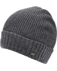 BOSS - C-fati2 Beanie, Ribbed Wool Charcoal Hat - Lyst