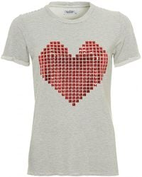 Lauren Moshi - Limp Charcoal Grey T-shirt, Red Stud Heart Stripe Tee - Lyst