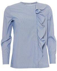 I Blues - Pitone Blouse, Asymmetric Frill Front Turquoise Blue Shirt - Lyst