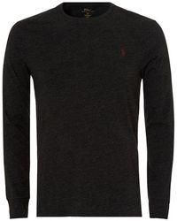 Ralph Lauren - Long Sleeved T-shirt, Plain Charcoal Grey Tee - Lyst