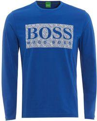 BOSS Athleisure - Togn 1 T-shirt, Monaco Blue Long Sleeve Logo Tee - Lyst