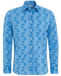 Etro - Climb Floral Shirt, Regular Fit Blue Shirt - Lyst