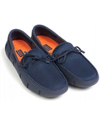 Swims Navy Shoes, Braided Lace Loafer - Blue