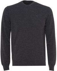 Emporio Armani - Embroidered Logo Jumper, Charcoal Black Regular Fit Sweater - Lyst