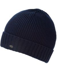 BOSS Green | C-fati2 Beanie, Ribbed Wool Navy Blue Hat | Lyst
