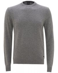 BOSS - Ambotrevo Flatlock Jumper, Light Grey Pastel Sweater - Lyst