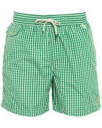 Ralph Lauren - Green Gingham Drawstring Swim Shorts - Lyst