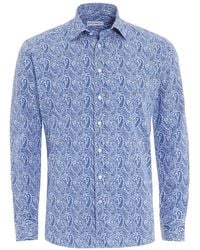 Etro - Large Paisley Shirt, Regular Fit White Blue Shirt - Lyst