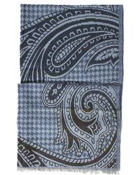 Etro - All Over Checked Paisley Print Navy Scarf - Lyst