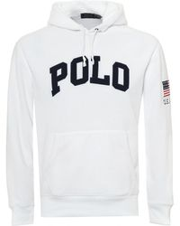 Ralph Lauren - American Patch Hoodie, Usa Text White Hooded Sweatshirt - Lyst