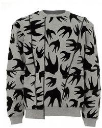 McQ - Swallows Sweatshirt, Crew Neck Grey Marl Sweat - Lyst