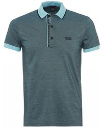 BOSS - Paule 4 Polo, Slim Fit Sky Blue Polo Shirt - Lyst