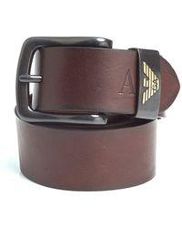 Armani Jeans - Dark Brown Eagle Logo Leather Belt - Lyst