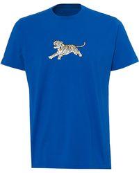 Maharishi - Running Tiger T-shirt, Regular Fit Electric Blue Tee - Lyst