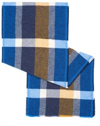 BOSS - Nuse All Over Large Check Navy Scarf - Lyst