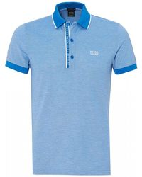 BOSS Athleisure - Paule 4 Polo Shirt, Slim Fit Blue Polo - Lyst