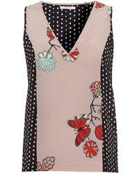I Blues - Londra Sleeveless Floral Dot Black Pink Top - Lyst