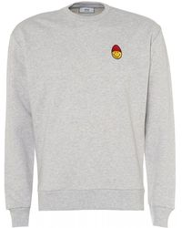 AMI - Patch Smiley Sweatshirt, Heather Grey Sweat - Lyst