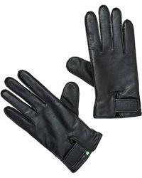 BOSS - Gans 3 Gloves, Branded Wrist Fixing Black Gloves - Lyst