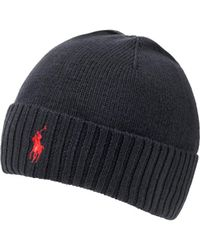 Ralph Lauren - Logo Beanie, Black Ribbed Hat - Lyst