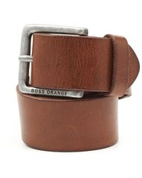 BOSS by Hugo Boss - Jeek Basic Choc Leather Belt - Lyst