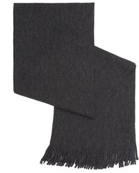 BOSS Green - C-albas Ribbed Charcoal Grey Scarf - Lyst