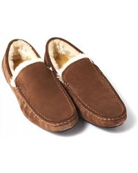 BOSS Relax_mocc_sdf Faux Shearling Tan Suede Slippers - Brown