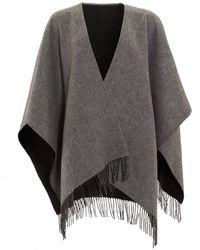 Fraas - Reverse Bicoloured Woollen Black Grey Poncho - Lyst