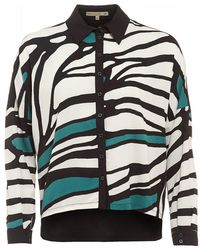 Patrizia Pepe - Black, White And Green Abstract Print Shirt - Lyst