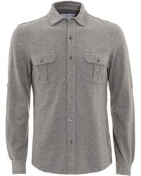 Orlebar Brown - Linsel Tailored Fit Jersey Charcoal Grey Shirt - Lyst