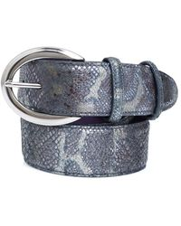 Elliot Rhodes - Silver Buckle Metallic Python Effect Grey Belt - Lyst