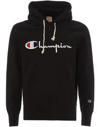 Champion Script Logo Sweatshirt, Black Hoodie